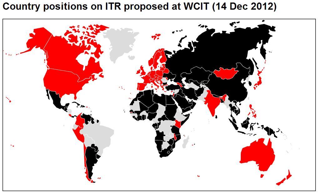 Raudonai pažymėtos šalys balsavo prieš naująjį ITR projektą. Juodai - už. Pilkos neturėjo teisės balsuoti arba nedalyvavo.