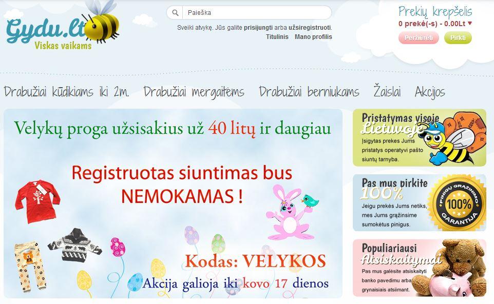 Gydu - prekių vaikams internetinė parduotuvė