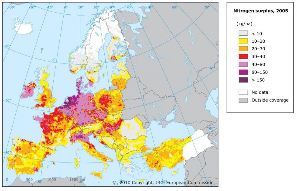 Azoto blogų junginių perteklius Europoje.