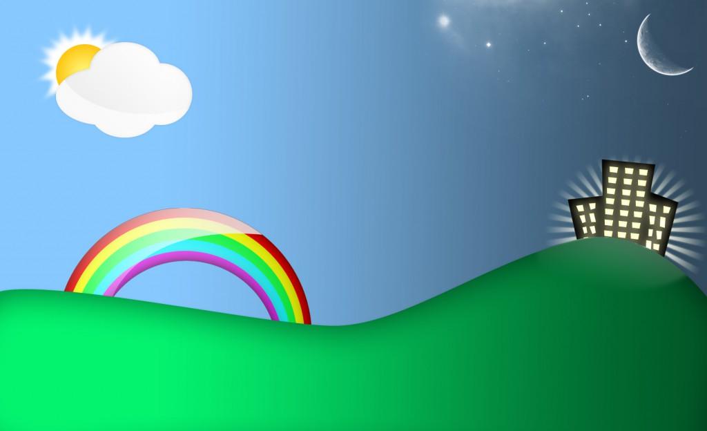 Ten, kur namai ir mėnulis - naktis, o kur vaivorykštė, debesėlis ir saulė - diena. Kas manote kitaip?<br />(Iš mix-mash.blogspot.com)