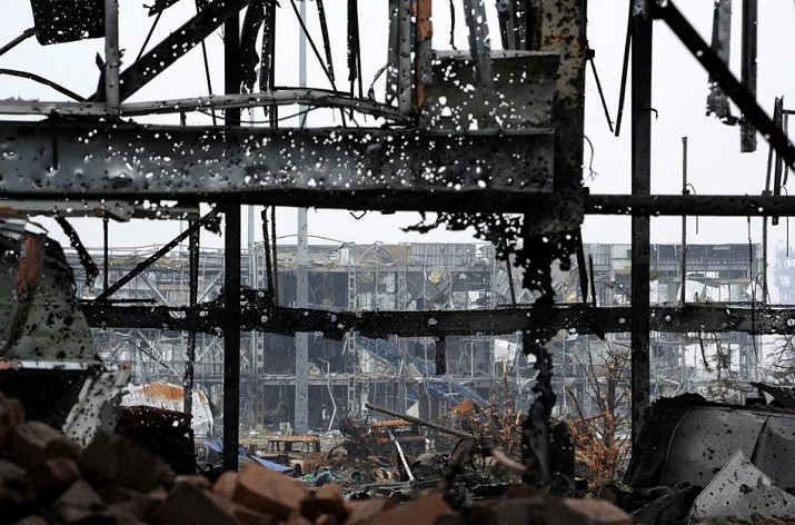 This was an airport of Donetsk (Ukraine's city). It's been held by a few volunteers for a months. For a months against hundreds of Russia terrorist troops.